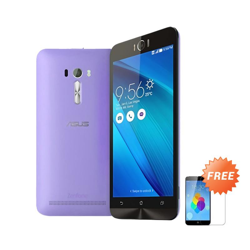 Ultrathin Aircase Casing for Zenfone Selfie 2D551KL + Free Tempered Glass - Purple Clear
