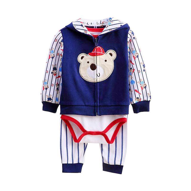 ChloebabyShop F1041D Jumper Baby Jacket bear basball Set Pakaian Bayi Laki Laki [3 Pcs]