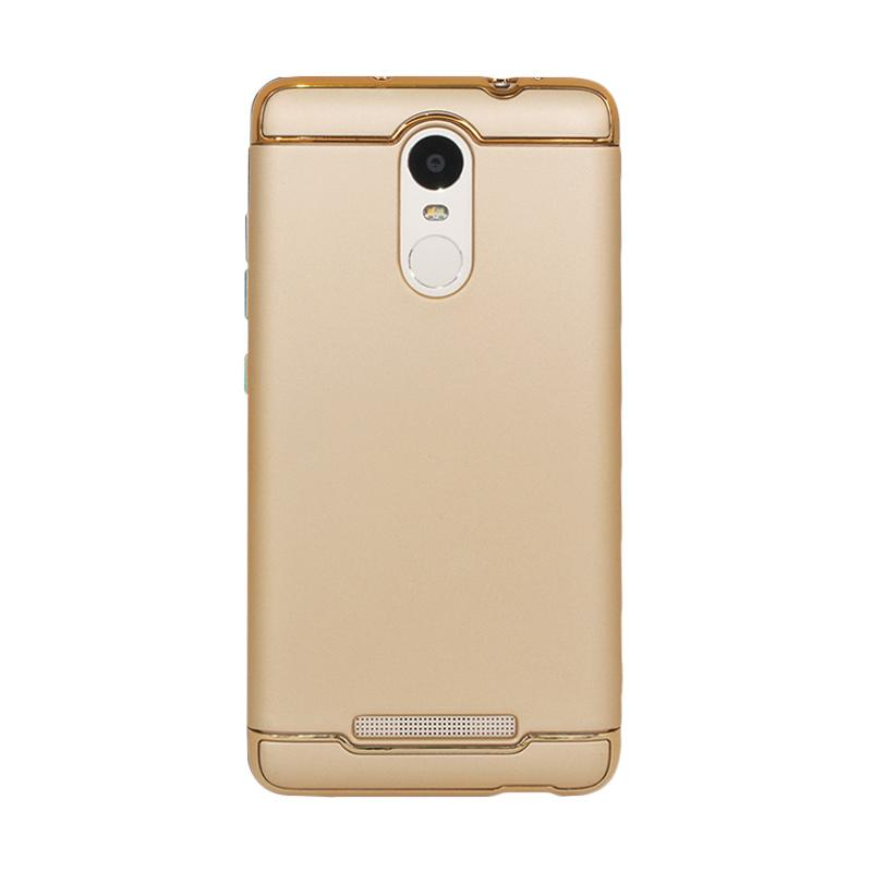 OEM 3in1 Plated PC Frame Bumper with Frosted Hard Backcase Casing for Xiaomi Redmi Note 3 or Note 3 Pro - Gold