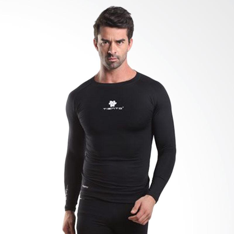 harga Tiento New Original Rash Guard Compression Long Sleeve Baselayer - Black White Blibli.com
