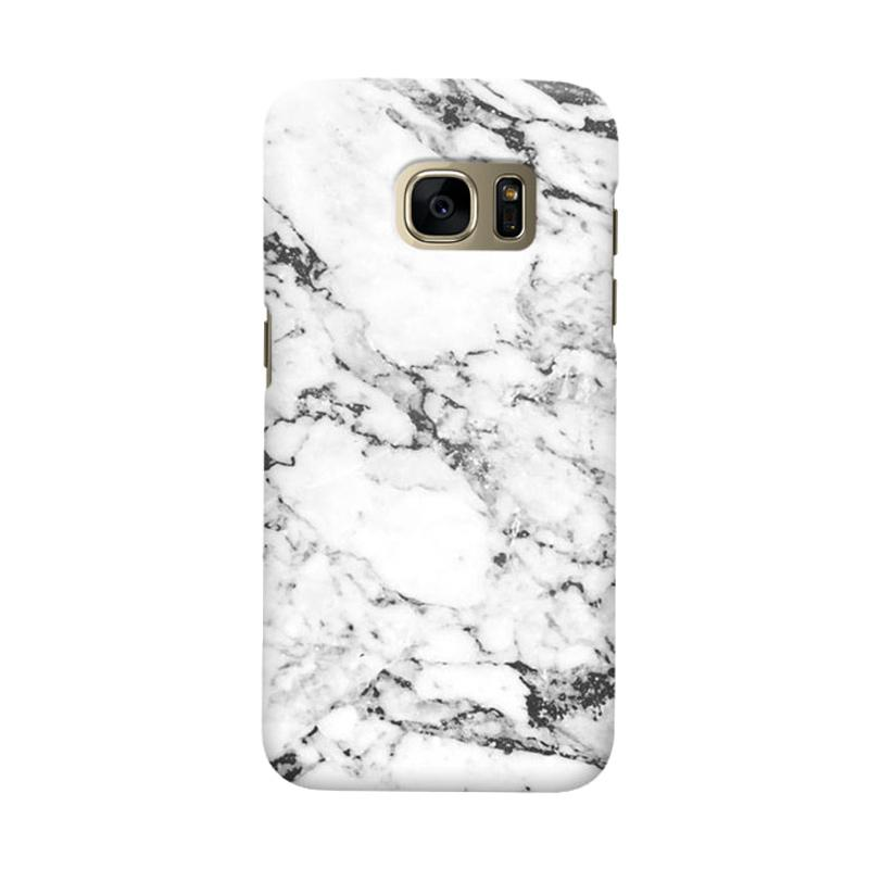 Indocustomcase White Marble Cover Casing for Samsung Galaxy S6 Edge