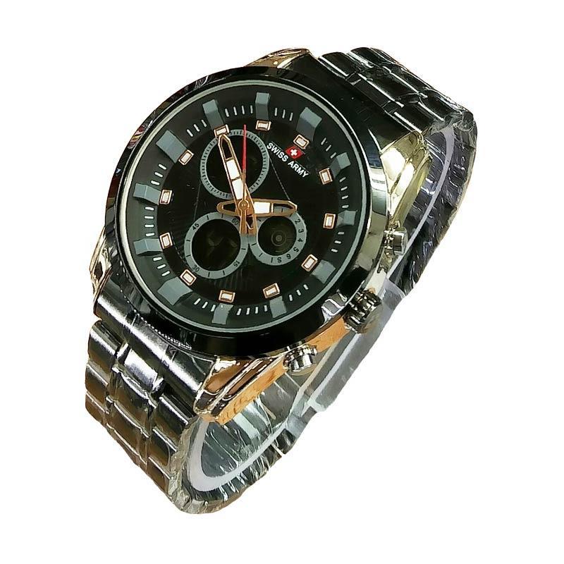 Swiss Army Dual Time SA5144M Stainlesstell Strap Jam Tangan Pria - Black Gold
