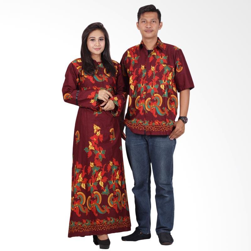 Batik Putri Ayu Solo Gamis Modern srg201 Baju Batik Couple - Cokelat