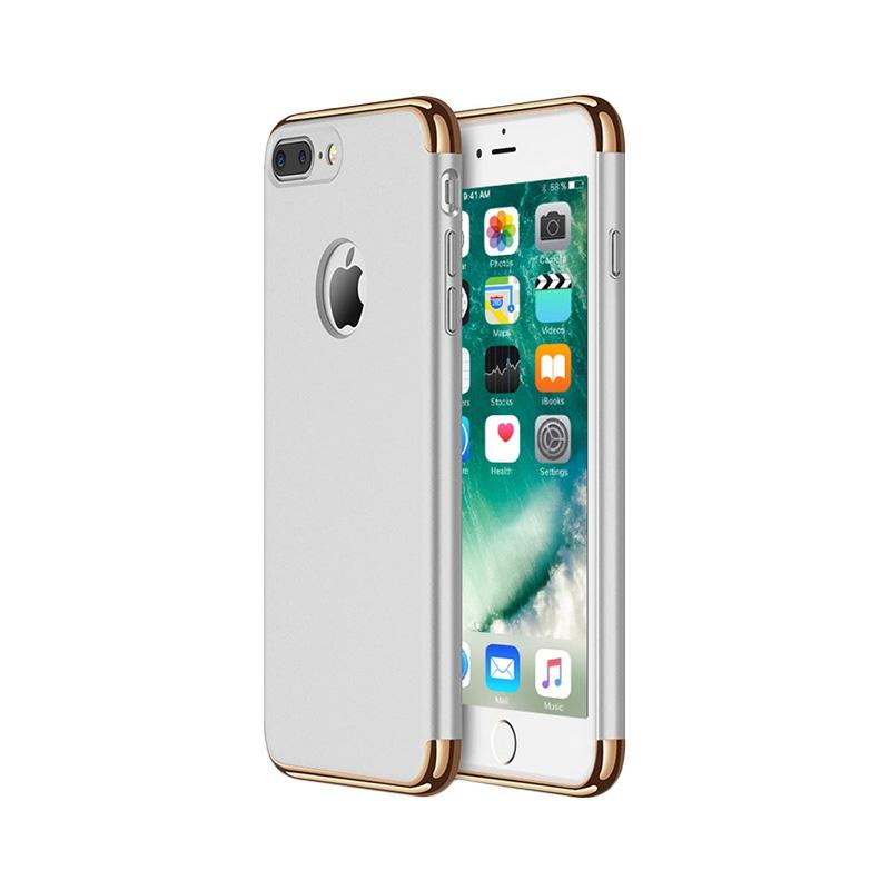 Fashion Case 3 in 1 Plated PC Frame Bumper with Frosted Hard Back Casing for iPhone 7 Plus - Silver