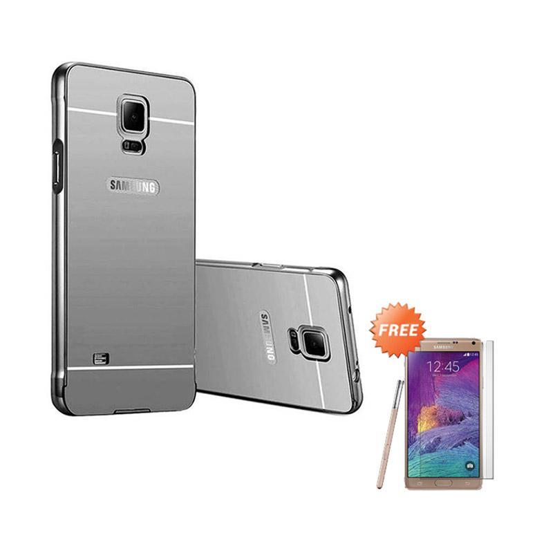 harga Elshadai Bumper Mirror Casing for Samsung Galaxy Note 4 - Black + Free Tempered Glass Blibli.com
