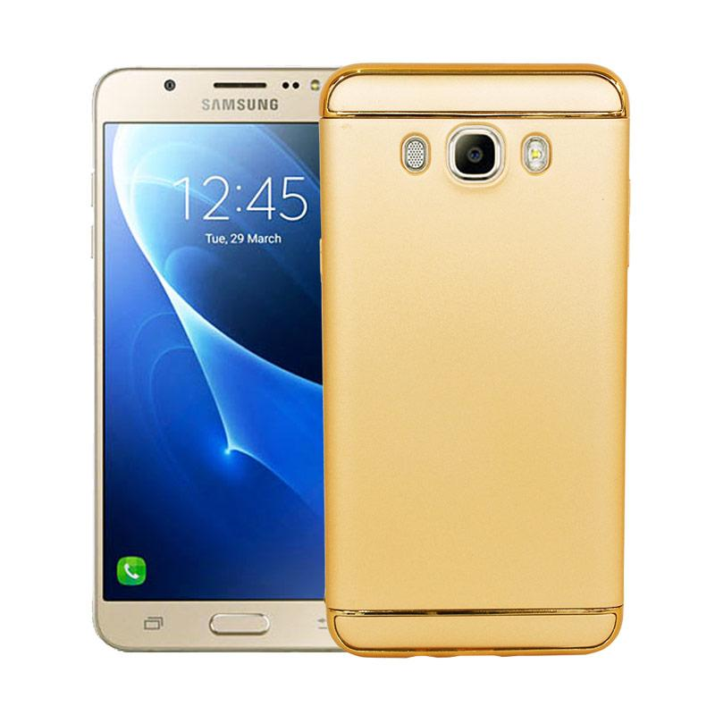 OEM Case 3 in 1 Plated PC Frame Bumper with Frosted Hard Back Casing for Samsung J7 2016 or J710 - Gold