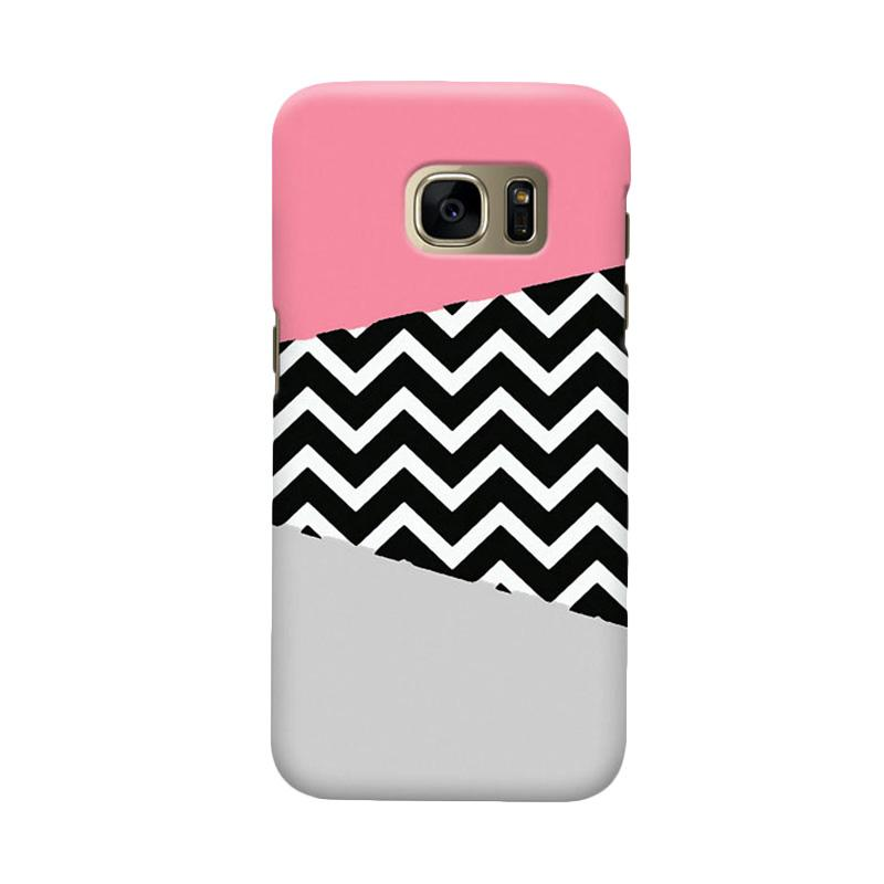 Indocustomcase Chevron Pink Cover Casing for Samsung Galaxy S7