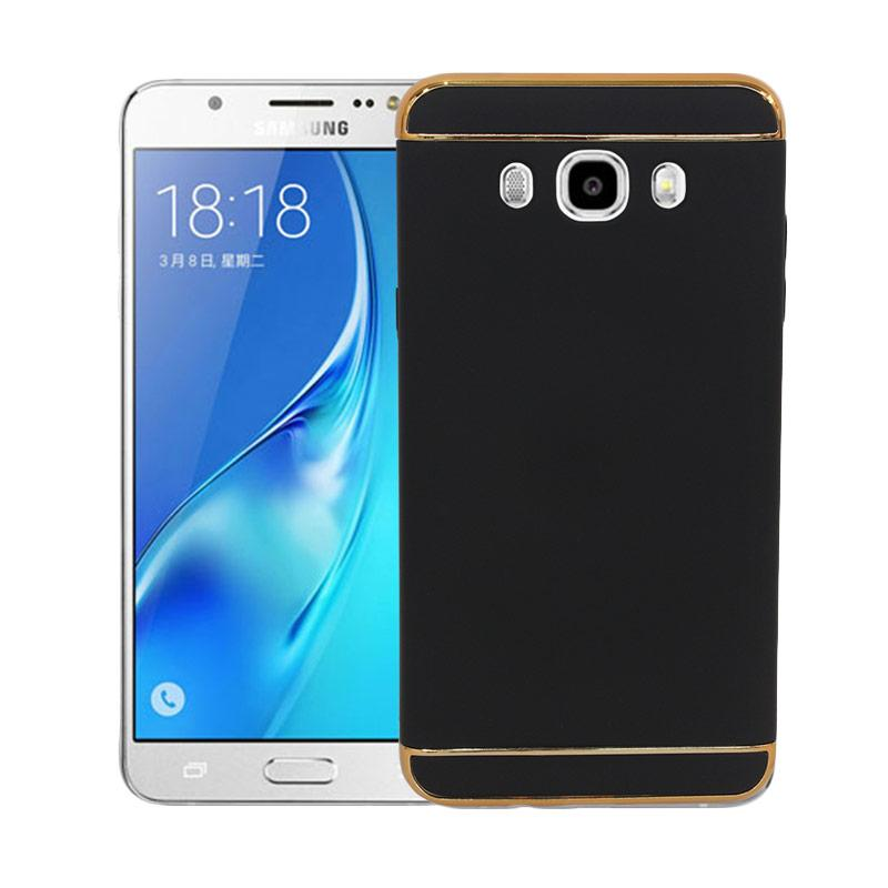 OEM Case 3 in 1 Plated PC Frame Bumper with Frosted Hard Back Casing for Samsung J7 2016 or J710 - Black