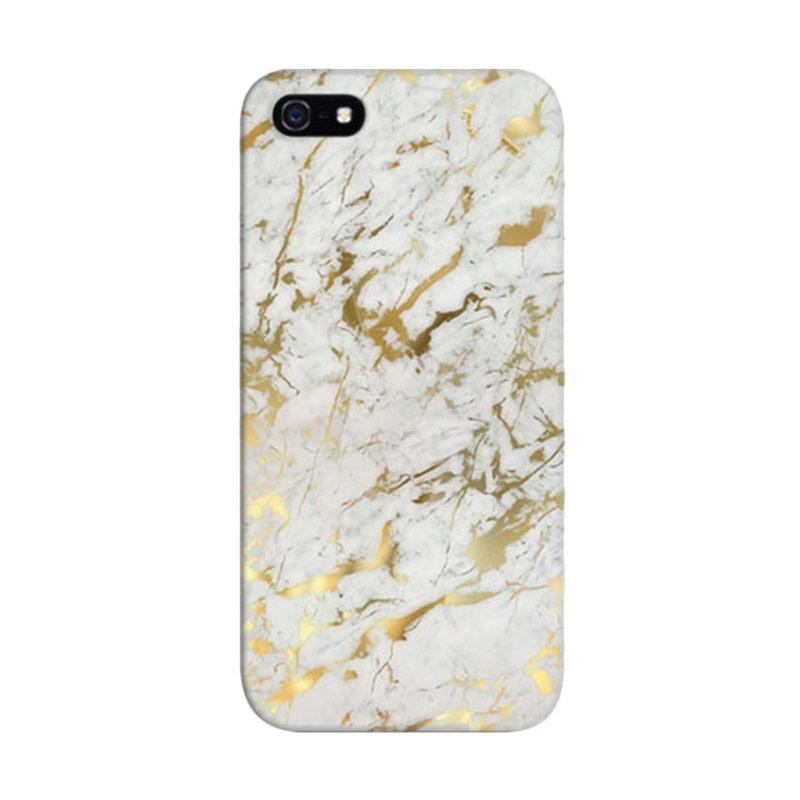 Indocustomcase Gold Marble Custom Hardcase Casing for Apple iPhone 5/5S/SE