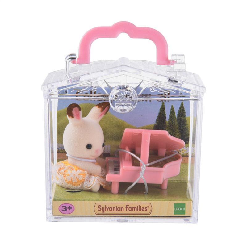Sylvanian Families Baby Carry Case Rabbit with Piano Mainan Anak
