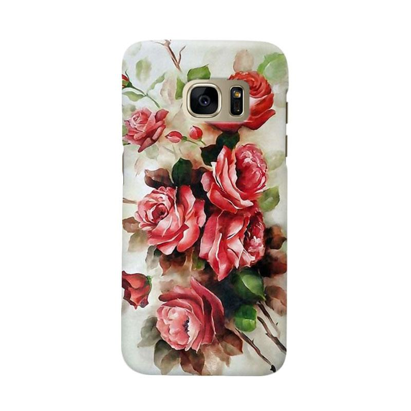 Indocustomcase Floral Red Rose Cover Casing for Samsung Galaxy S7