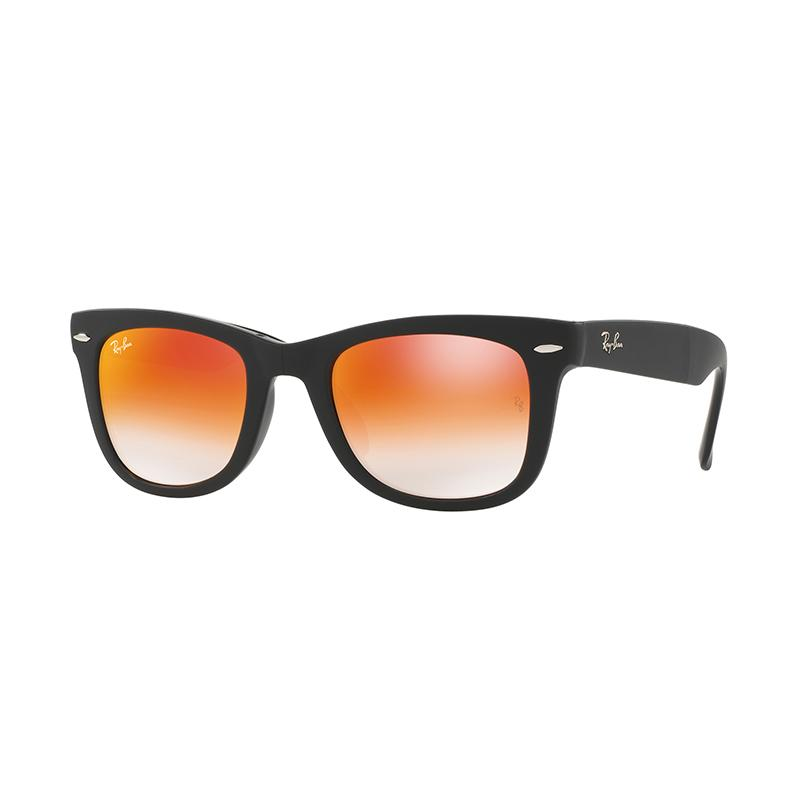 Ray-Ban Folding Wayfarer Sunglasses RB4105 Mirror Gradient Red Kacamata - Matte Black [60694W/Size 50]