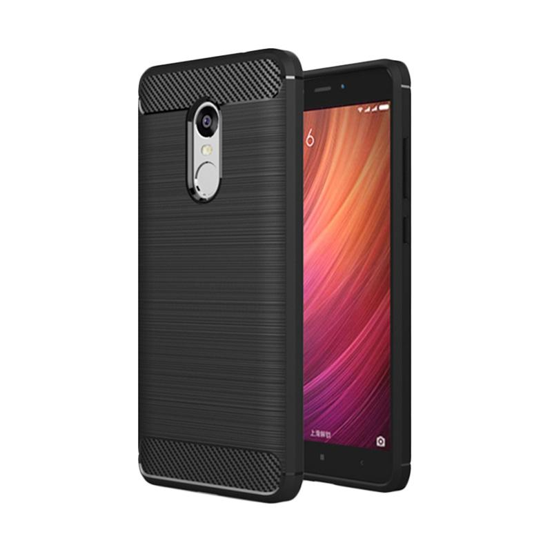 Ipaky Carbon Brushed TPU Rubber Softcase Casing for Xiaomi Redmi Note 4X - Black