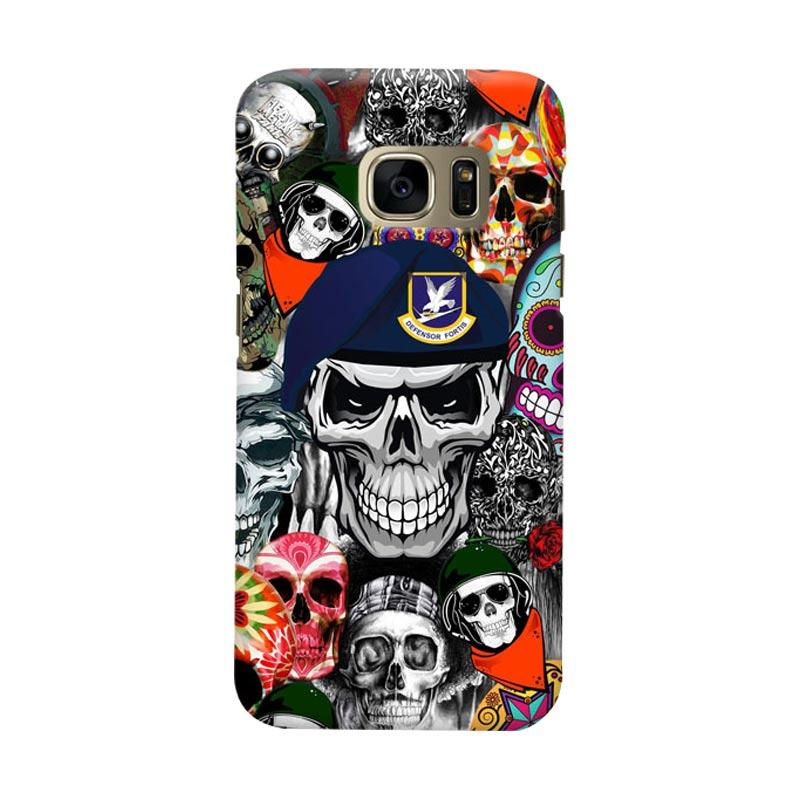 Indocustomcase Army Skull Cover Casing for Samsung Galaxy S7 Edge