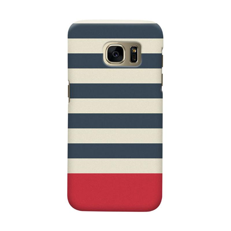 Indocustomcase Blue Stripe Casing for Samsung Galaxy S7 Edge