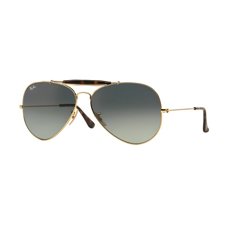 Ray-Ban Outdoorsman Ii RB3029 Sunglasses - Gold [181-71/Size 62/Light Grey Gradient Dark Grey]