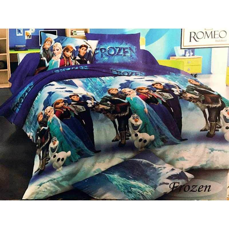 Best Furniture Romeo Frozen Katun Import Set Sprei Anak - Biru [120 x 200 cm]