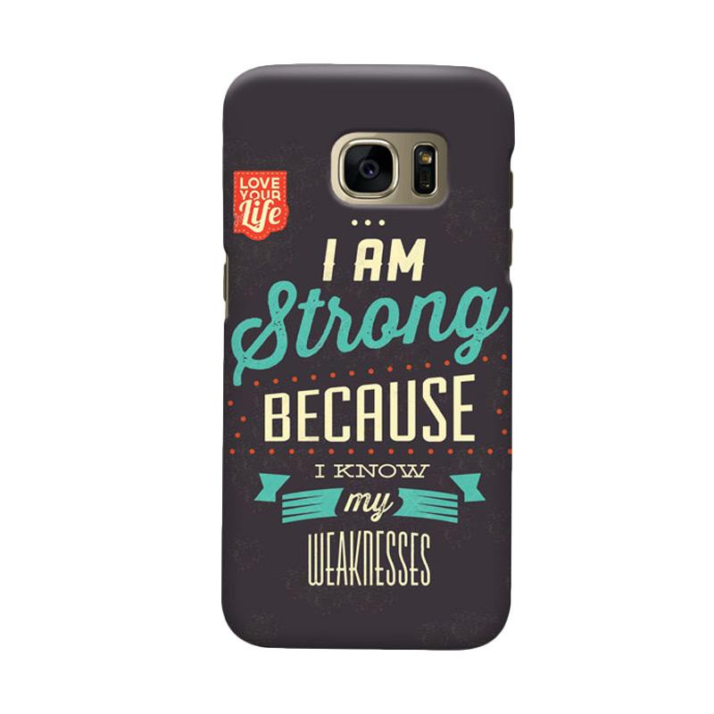 Indocustomcase I am Strong Logo Cover Casing for Samsung Galaxy S7 Edge