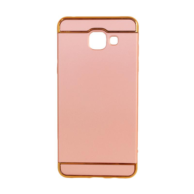 OEM 3in1 Plated PC Frame Bumper with Frosted Hard Backcase Casing for Samsung A5 2016 A510 - Rose Gold