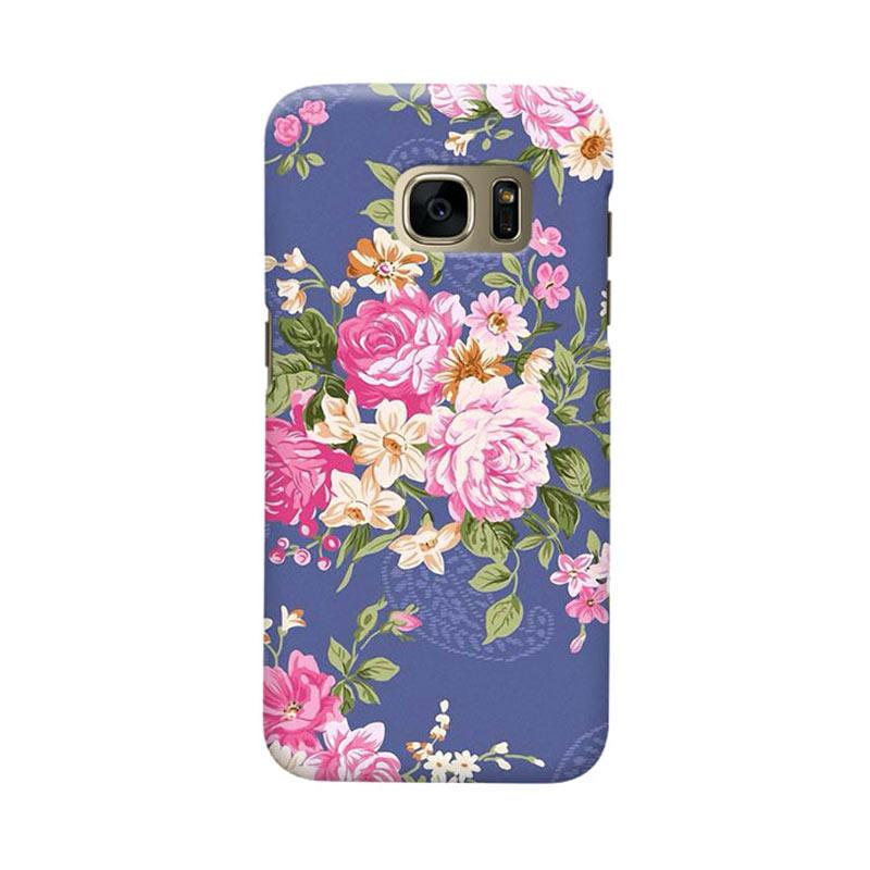 Indocustomcase Floral Rose Blue Cover Casing for Samsung Galaxy S6 Edge
