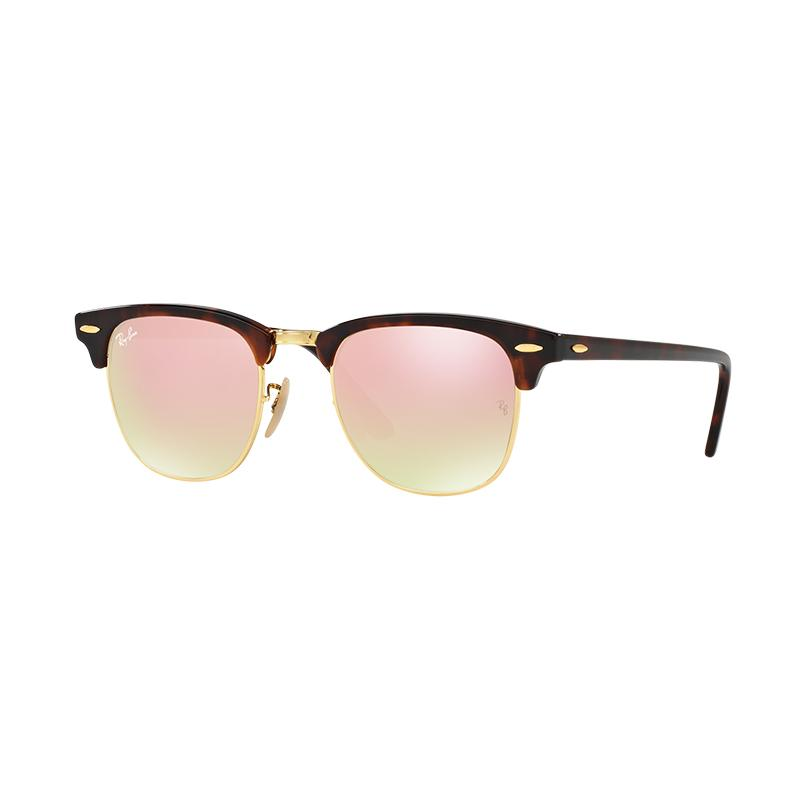 Ray-Ban Clubmaster Sunglasses RB3016 Copper Flash Gradient Kacamata - Shiny Red Havana [990/7O/Size 51]