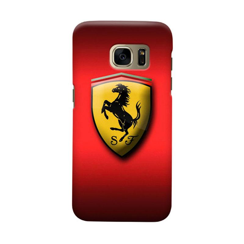Indocustomcase Ferarri Logo Cover Casing for Samsung Galaxy S7 Edge