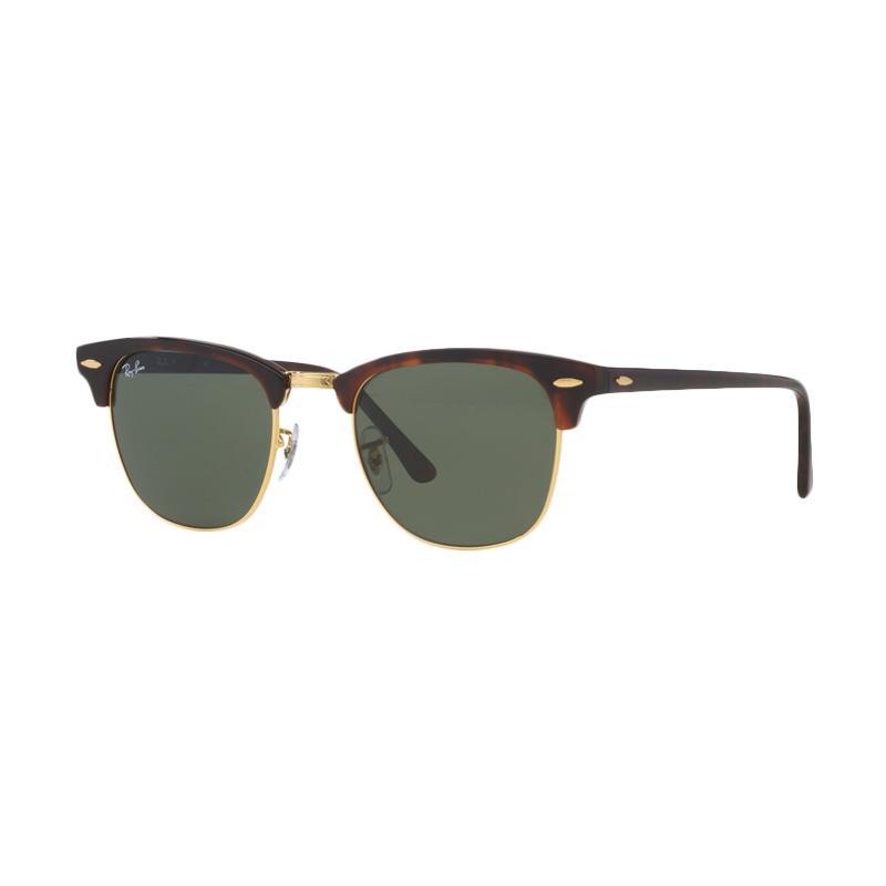 Ray-Ban Clubmaster RB3016 W0366 Sunglasses - Tortoise [Size 51/Mock Tortoise Arista Frame/Crystal Green Lenses]