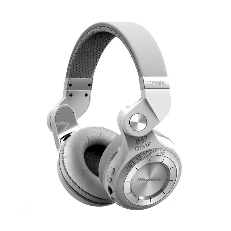 Bluedio Turbine T2+ Bluetooth 4.1 Headphone - Putih [SD Card Slot/FM Radio/Scan Function]