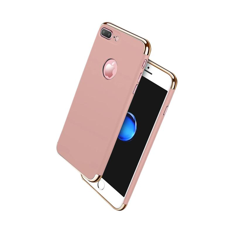 Fashion Case 3 in 1 Plated PC Frame Bumper with Frosted Hard Back Casing for iPhone 7 Plus - Rose Gold