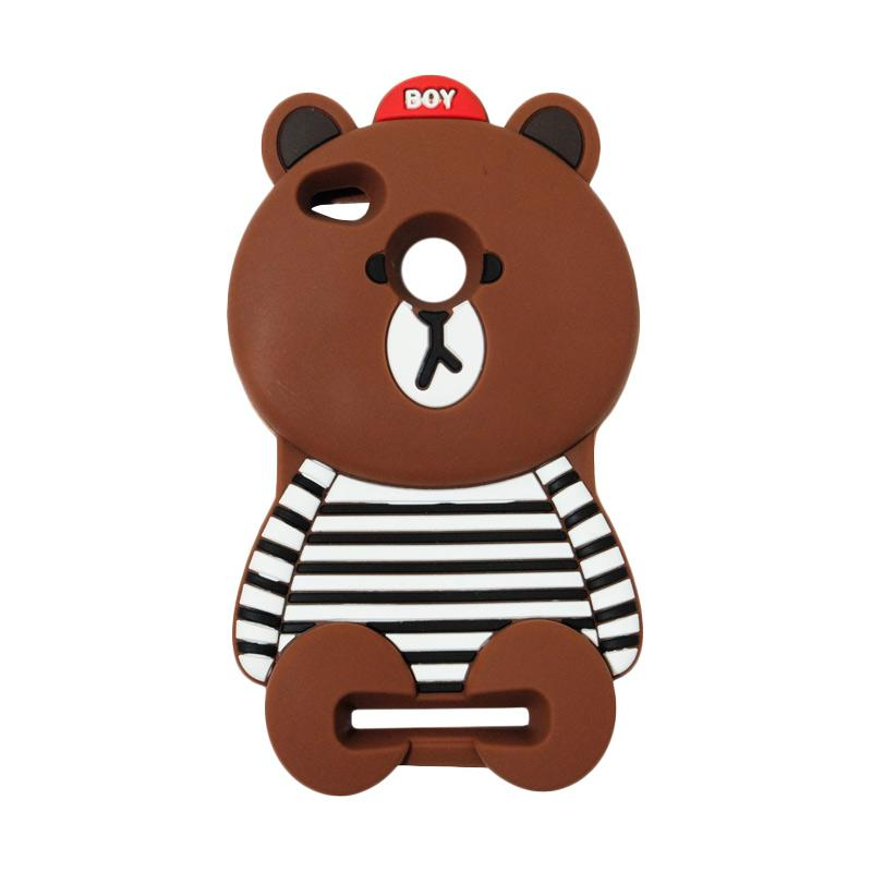 VR 3D Boy Bear Brown List Edition Silicon Softcase Casing for Xiaomi Redmi 3 Pro - Brown