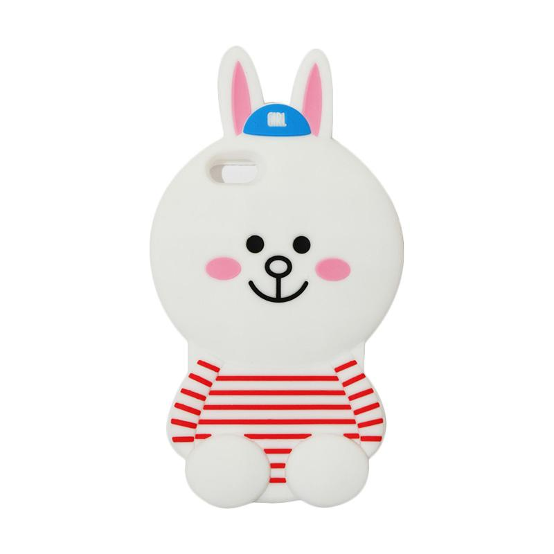 VR Karakter 3D Cony Line Edition Silicon Softcase Casing for Apple iPhone 5/5G/5S/5SE - White