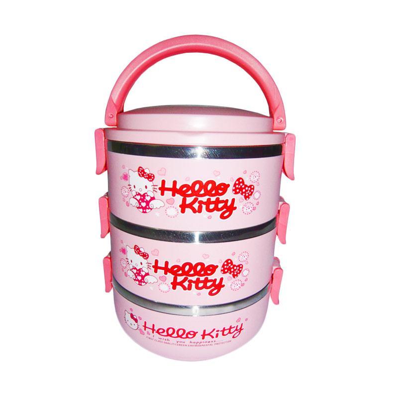 harga Nomuri Karakter Hello Kitty Lunch Box Stainless Steel Rantang 3 Susun - Pink Blibli.