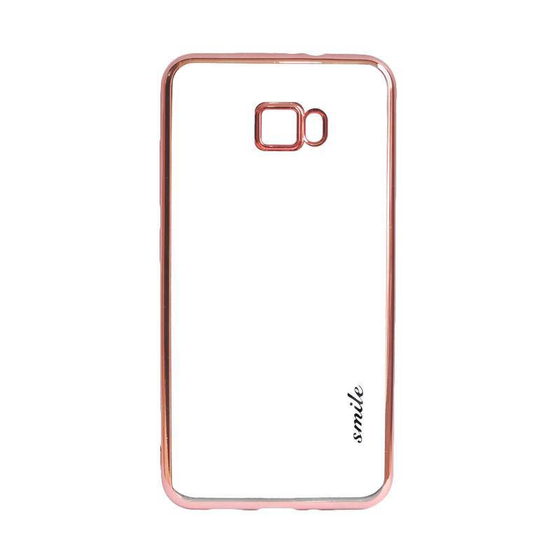 Smile Ultrathin Shining List Chrome Casing for Samsung Galaxy J5 Prime - Rose Gold