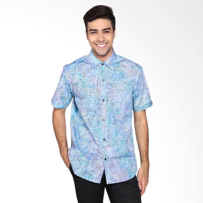 Batik Pria Tampan PKMPD-04081694C- Winter Men Dot Wave Slimfit Shirt Batik Pria