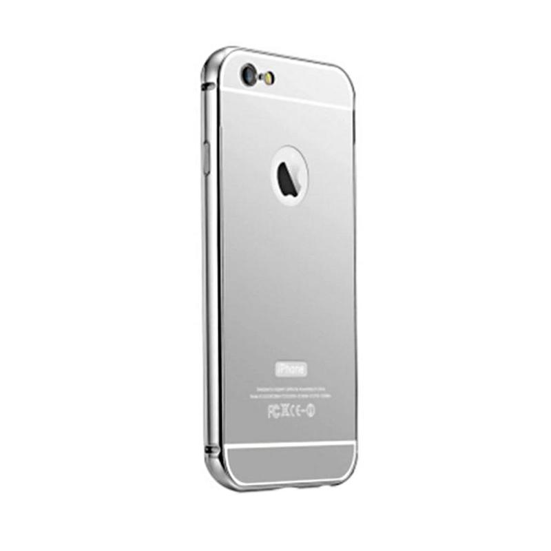 Kimi Mirror Case Aluminium Bumper Backdoor Stylish Casing for Apple iPhone 6 Plus - Silver
