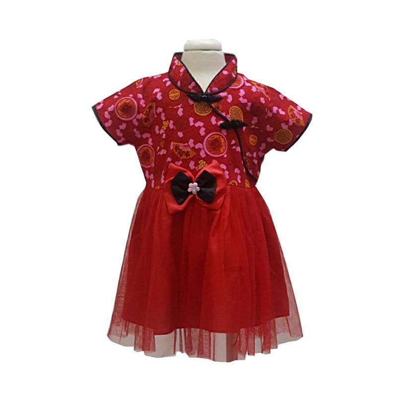Chloebaby Shop Chinese New Year Choengsam Kipas Ribbon Black F1007 Dress Anak - Merah