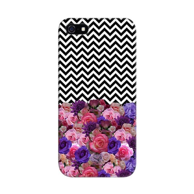 Indocustomcase Floral Chevron 5S Custom Hardcase Casing for iPhone 5/5S/SE