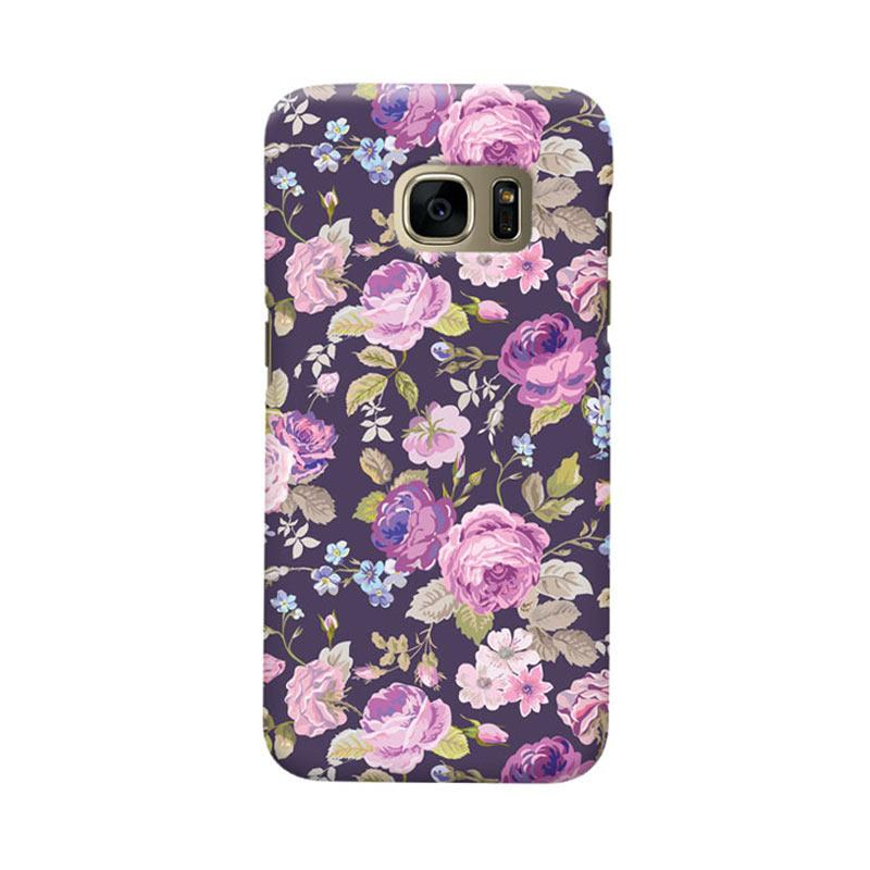 Indocustomcase Floral Rose Pink Cover Casing for Samsung Galaxy S6 Edge