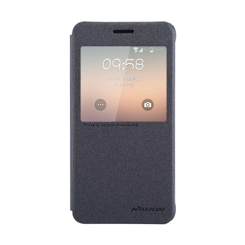 Nillkin Original Sparkle Leather Flip Cover Casing for Samsung Galaxy Alpha - Black