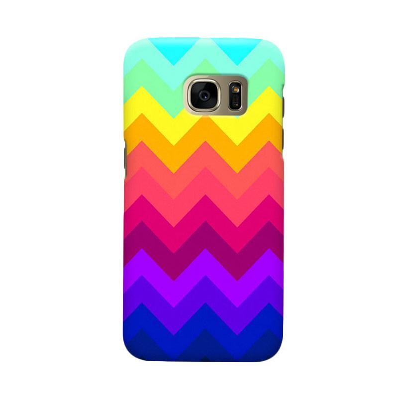 Indocustomcase Chevron Rainbow Cover Casing for Samsung Galaxy S7
