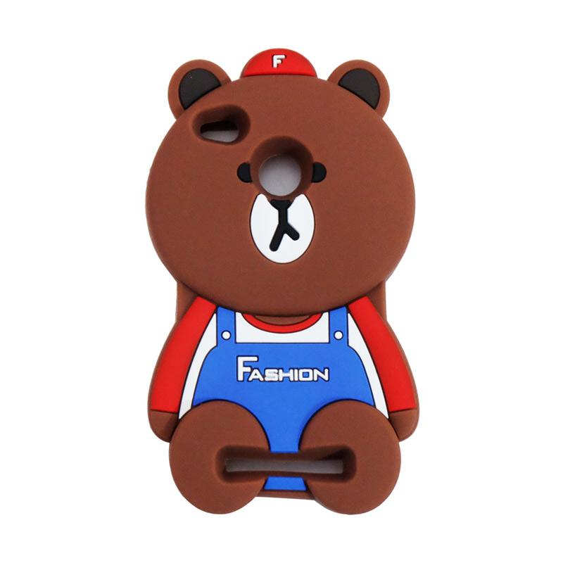 VR Karakter 3D Bear Fashion Edition Softcase Silicon Casing for Xiaomi Redmi 3 Pro - Brown
