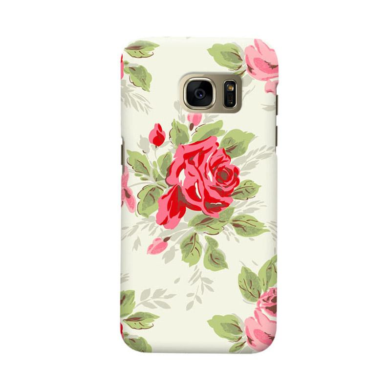 Indocustomcase Floral Rose Grey Cover Casing for Samsung Galaxy S6 Edge