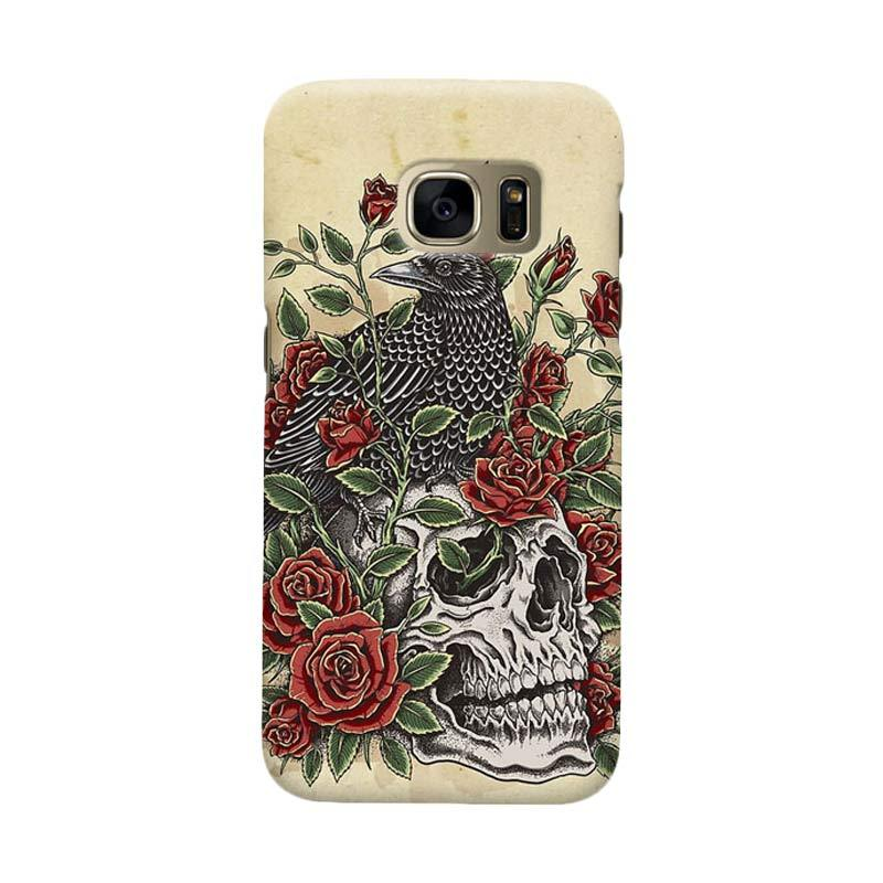Indocustomcase Floral Skull Cover Casing for Samsung Galaxy S7 Edge