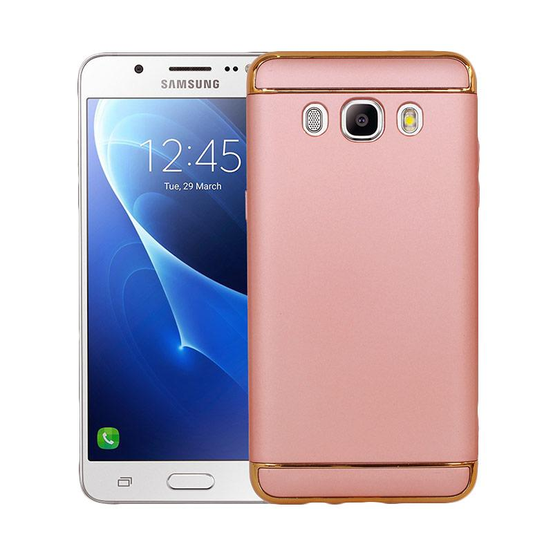OEM 3in1 Plated PC Frame Bumper with Frosted Hard Backcase Casing for Samsung J5 2016 J510 - Rose Gold