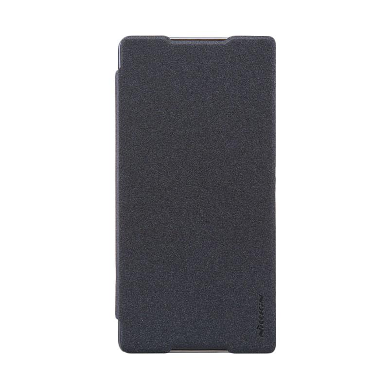 Nillkin Original Sparkle Leather Flip Cover Casing for SONY Xperia C5 Ultra - Black