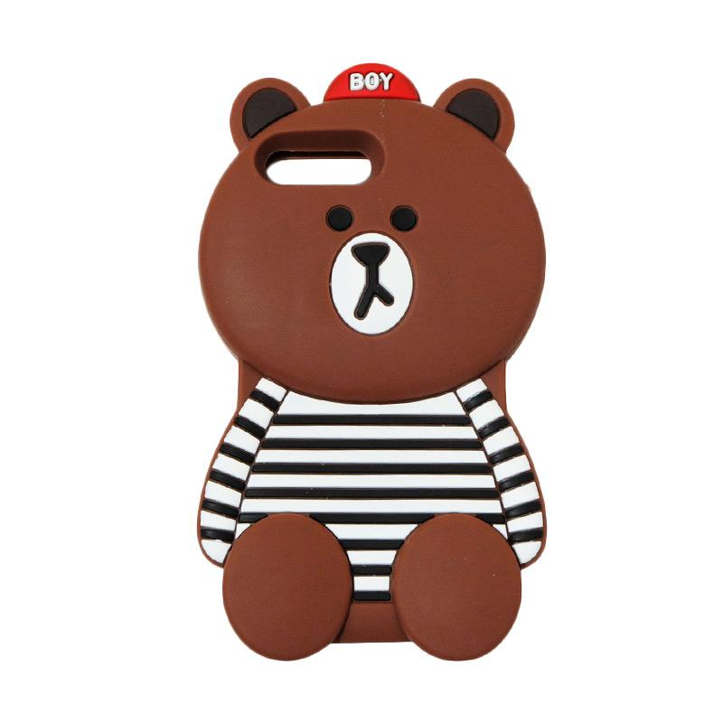 VR 3D Boy Bear Brown List Edition Silicon Softcase Casing for iPhone 7 Plus 5.5 Inch - Brown