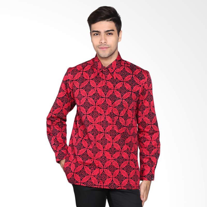 Batik Pria Tampan PKMPJ-04081693C Men Cap Reg Ornate Wedding Ring Batik Pria - Red Black