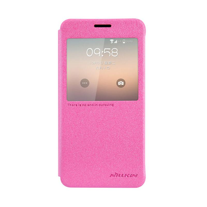 Nillkin Original Sparkle Leather Flip Cover Casing for Samsung Galaxy Alpha - Pink