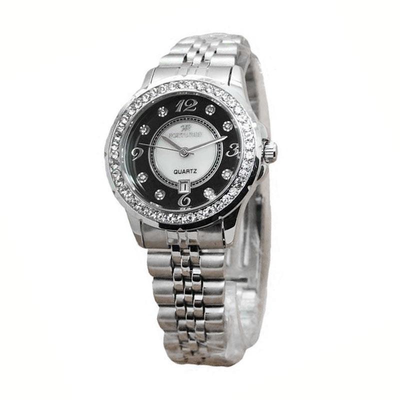 Fortuner Dualtime FR K925 Stainless Steel Strap Jam Tangan Wanita - Silver Black