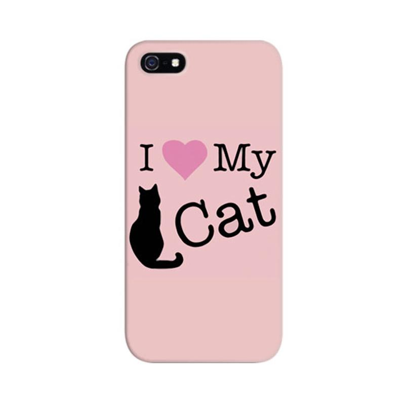 Indocustomcase I Love My Cat Custom Hardcase Casing for Apple iPhone 5/5S/SE